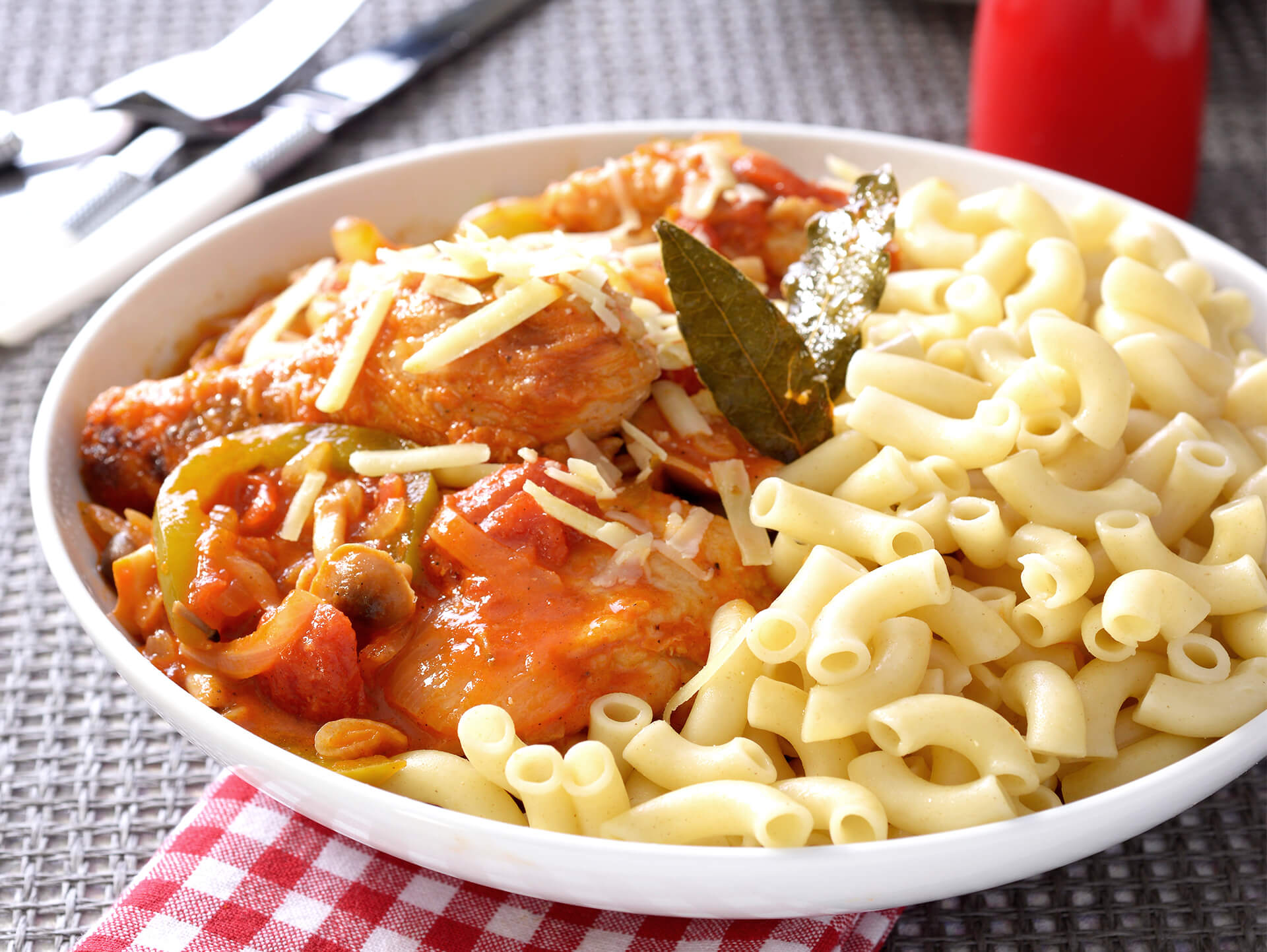 Chicken Cacciatore on Pasta
