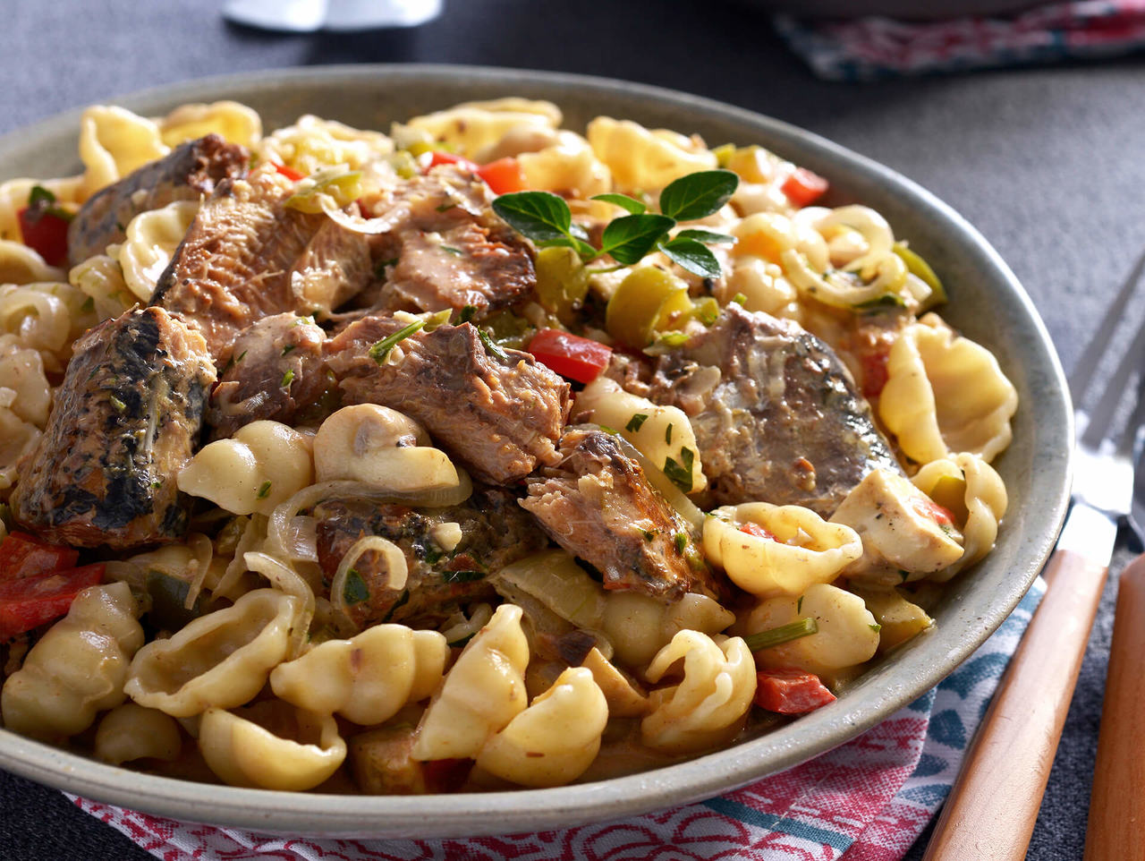 Fattis and Monis Pasta with Pilchards and Mushrooms Recipe