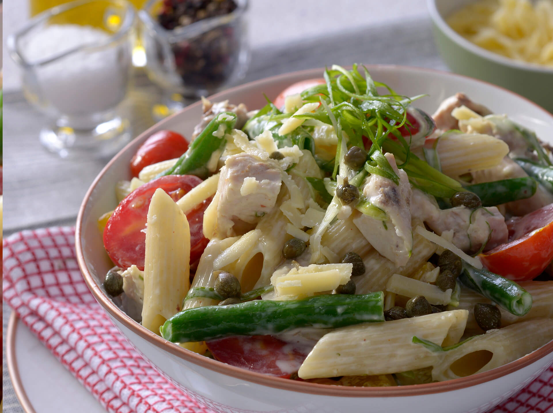 Penne with chicken and green bean salad 1920x1433